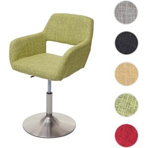 Esszimmerstuhl HWC-A50 III, Stuhl Küchenstuhl, Retro 50er Jahre, Stoff/Textil ~ hellgrün, Fuß gebürs