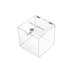 HMF Geldkassette Spendenbox 4691, Acryl Box mit Schloss, 15 x 15 x 15 cm, DIN A6 15 cm x 15 cm x 15 cm