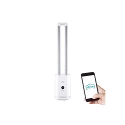 Djive Ventilatorkombigerät Flowmate Tower one, Ventilator mit App & Alexa Steuerung, Luftreiniger mit HEPA 12 Filter, ca. 105cm hoch, rotorloser Turmventilator mit Fernbedienung, 80° Oszillation, LED Display, 35W weiß