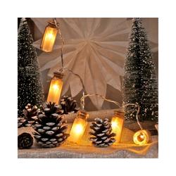 MARELIDA LED-Lichterkette LED Lichterkette Mini Glasflaschen mit Sterneffekt - 10 warmweiße LED - Batteriebetrieb - L: 0,9m, 10-flammig