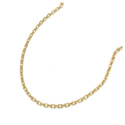 Gallay Goldkette Kette 1,3mm Anker diamantiert 14Kt GOLD (inkl. Schmuckbox), Goldschmuck für Damen