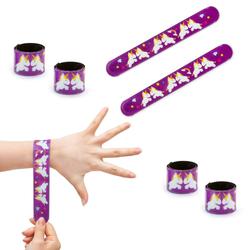 2 x Einhorn Schnapparmbänder Armbänder Kindergeburtstag Mitgebsel - lila