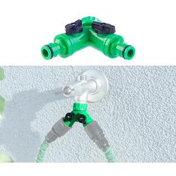 2-Wege-Wasserhahn-Adapter mit 2 Ventilen für Gartenschläuche