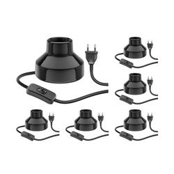 E27 Porzellan Tischlampe TIX, rund mit Stecker und Schalter, schwarz, 90mm, 6 Stk.
