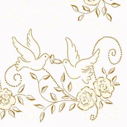 "Mank Airlaid Servietten Festival ""Hochzeit"", 40 x 40 cm, 1/4 Falz, 60 g, Farbe: creme-gold, 1 Karton = 6 x 50 Stück = 300 Servietten"