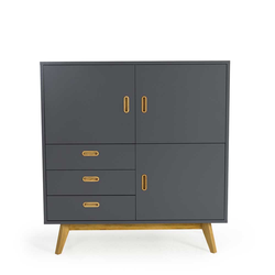 Retrostil Highboard in Grau 120 cm hoch