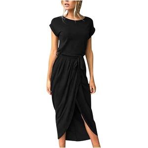 Sommerkleid Damen Lang Strandkleid Elegant Boho Rundhals Kurzarm Partykleid Einfarbig Klassisches Kleid Abendkleider Longshirt Kleider Lässiger Kleider Blusenkleid Freizeitkleid Schlitz Kleider