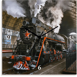Artland Wanduhr Sowjetische Dampflokomotive