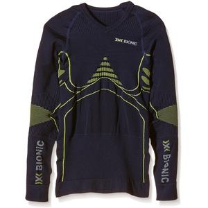 X-Bionic Erwachsene Funktionsbekleidung Junior EN Accumulator UW Shirt LG SL, Blue Marine/Yellow, 10/11