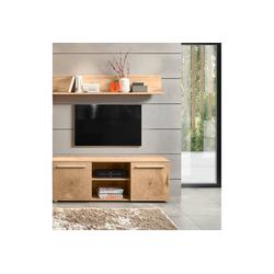 Lomadox TV-Wand LOMBARDO-61, (2-tlg), TV-Möbel Set Lowboard mit Wandboard im modernen Stil, Wotan Eiche mit Hirnholz Applikation, B/H/T: ca. 138/190/39