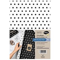 Geschenkpapier-Set Sterne (schwarz/weiß)