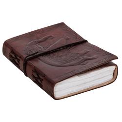 Gusti Leder Notizbuch Dehlia, Notizbuch Tagebuch Skizzenbuch Buch mit Motiv Elefant DIN A6 Vintage Braun Leder