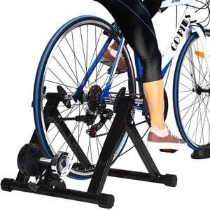 GOPLUS Rollentrainer für Fahrrad, Fahrradtrainer für 26-28 Zoll, Heimtrainer Klappbar, bis zu 150 Kg Belastbar, aus Stahl, inkl. Vorderradstütze (mit Magnet-Widerstand)
