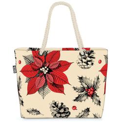 VOID Strandtasche (1-tlg), Adventsstern Weihnachtsstern Beach Bag Adventsstern Stern Blume Mistel Mistelzw
