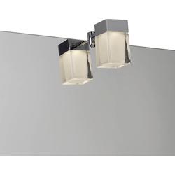 Spiegelleuchte LED Aufsatzleuchte Cube, 4,5 x 4,5 cm silberfarben