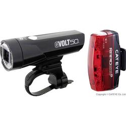 Cateye Fahrradbeleuchtung Set GVOLT50 + RAPID MICRO G LED akkubetrieben Schwarz, Rot