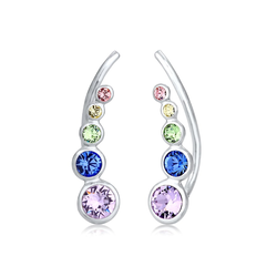 Ohrringe Earcuff Regenbogen Kristalle 925 Silber Elli Silber