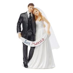 HobbyFun Dekofigur Hochzeitspaar Just Married, 7 cm x 5,5 cm x 13,5 cm