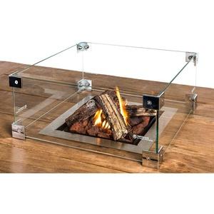 M A N I A Schutzglas für Feuertisch Einbaumodelle - Schutz Glas passend für quadratischer Mania Feuertisch Einbau - Glasschirm gegen Wind 40 x 40 x 17 cm