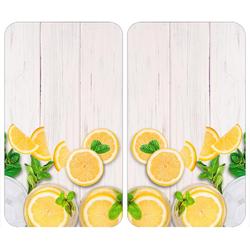 WENKO Herd-Abdeckplatte Universal Zitronen, Glas, Kunststoff, (Set, 2 tlg)
