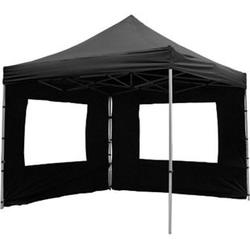 VCM PROFI Faltpavillon Partyzelt 3x3 m schwarz mit 2 Seitenteilen wasserdichtes Dach