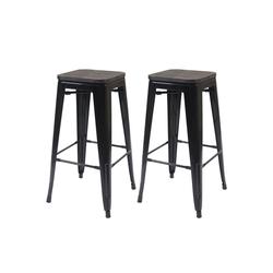 MCW Barhocker MCW-A73-Barhocker (Set, 2er), 2er-Set, Stapelbar, Fußstütze für bequemeres Sitzen schwarz