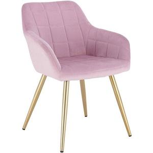 Woltu Esszimmerstuhl Esszimmerstuhl aus Samt, goldene Beine rosa