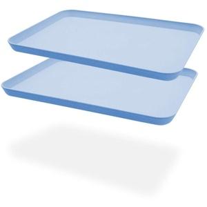 2 unzerbrechliche Serviertabletts aus, ideal für Abendessen, Teetablett, Betttablett, Bartablett, Frühstückstablett Essenstablett (blau)