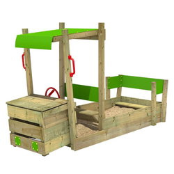 FATMOOSE Sandkasten PowerPulley - Crazy Cruisen im Sandkasten mit Lenkrad - Holzsandkasten