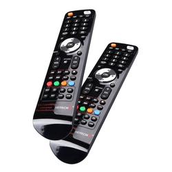 HEITECH Universal Fernbedienung für 4 Geräte 2er Pack - 4in1 lernfähige Unversalfernbedienung für Smart TV, DVD, SAT, AV Receiver - Multifunktionsfernbedienung mit Lernfunktion & für alle Marken Universal-Fernbedienung