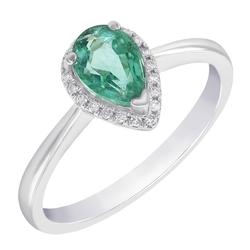 Zarter Halo-Verlobungsring aus Gold 585 mit Tropfen-Smaragd und Diamanten Disha