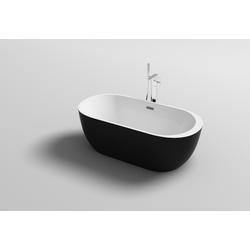 Badewanne Lugano schwarz freistehend 180 x 80 x 72