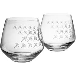 Joop! Tumbler-Glas JOOP! FADED CORNFLOWER (2-tlg), hochwertiges Kristallglas mit Kornblumen-Verlauf als Dekor