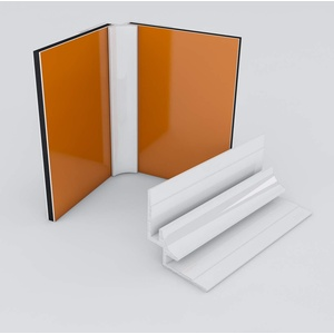 Duschrückwand-Profilsystem Inneneckprofil Aluprofil Aluminiumprofil für 3mm Duschrückwand Küchenspiegel 300cm weiss
