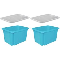 keeeper Stapelbox emil (Set, 2 Stück), mit Deckel, 44,5 x 34,5 x 27 cm, 30 Liter, 2er Set blau