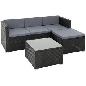 ESTEXO Rattan Lounge Sitzgruppe Polyrattan Gartenmöbel Set Couch 3-Sitzer Rattanmöbel Sofa Set Essgruppe Gartenset Balkon-Set (Schwarz)