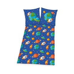 Bettwäsche Kinderbettwäsche Weltraum, 135 x 200 + 80 x 80 cm, Herding