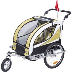HOMCOM 2 in 1 Fahrradanhänger für 2 Kinder gelb, weiß, schwarz 106 x 90 x 105 cm (LxBxH)   Kinderanhänger Kinderjogger Kinderwagen Anhänger