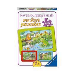 Ravensburger Puzzle My First Puzzle Kleine Gartentiere, 3 x 6 Teile, Puzzleteile