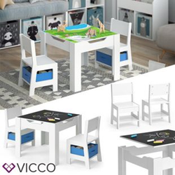 VICCO Kindersitzgruppe STELLA Sitzgruppe für Kinder 2 Stühle Tisch Maltisch Holz-Blau