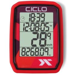 Ciclosport Fahrradcomputer Protos 105 Kabel Tacho ohne Tasten Fahrradtacho 4 Zeilen Display rot