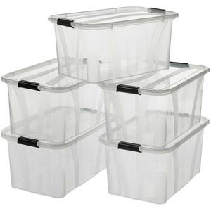 5 Stück Aufbewahrungsbox mit Deckel aus Kunststoff  7 - 80L transparent