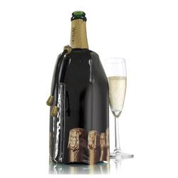 VACUVIN Wein- und Sektkühler Aktiv Flaschen, Aktiv-Kühlmantel schwarz