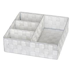 WENKO Adria Organizer, 4 Fächer, Aufbewahrung von Utensilien im gesamten Haushalt, Maße: 32 x 10 x 32 cm, Farbe: weiß