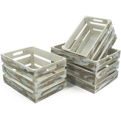 NOOR LIVING Aufbewahrungsbox Holzkisten-Set, 3-tlg., weiß gewaschen, (Set, 3 St.) Kleideraufbewahrung Aufbewahrung Ordnung Wohnaccessoires