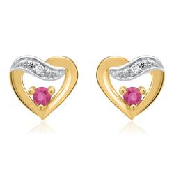 585er Ohrringe 2 Rubine 2 Diamanten