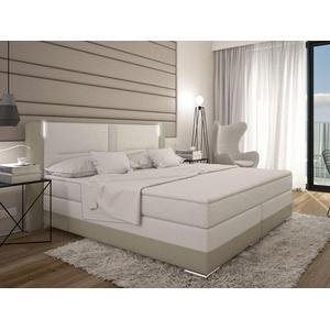 LED-Boxspringbett ASTI - 160 x 200 cm - Weiß/Cremefarben