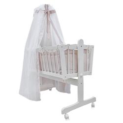 Oskar Babybett Baby Wiege Kinder Bett Stubenwagen Beistellbett + 9 tlg. Zubehör Weiß / Beige