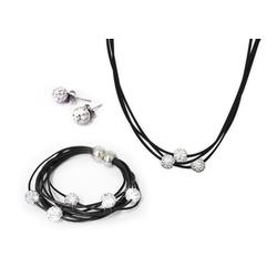 MyBeautyworld24 Schmuckset 3er Shamballa Schmuck Set (Halskette+Armband+Ohrringe) Silber