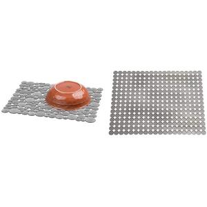 iDesign Spülbeckeneinlage, große Spülbeckenmatte aus Kunststoff, grau & Spülbeckeneinlage, große Spülmatte aus Kunststoff, zuschneidbare Geschirr Abtropfmatte für Besteck und Geschirr, grau